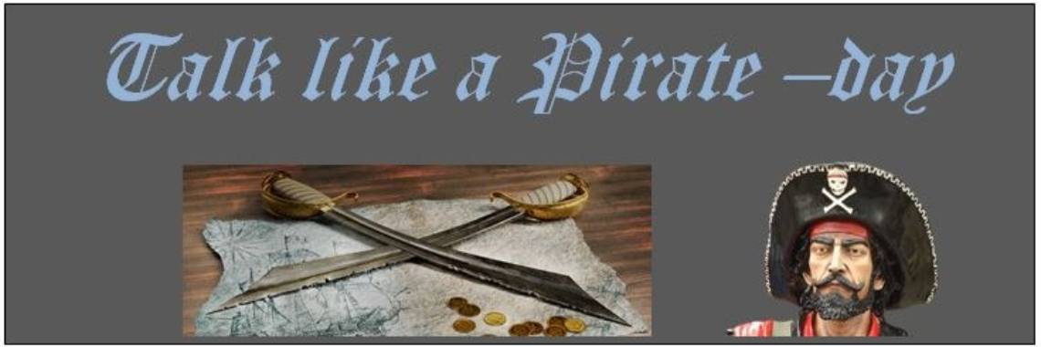 ' Talk like a pirate' - dag - 19 september