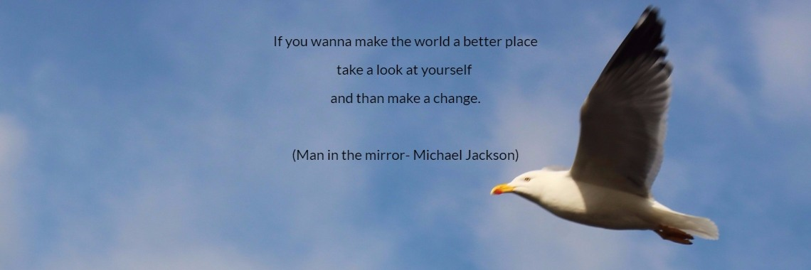 If you wanna make the world a better place take a look at yourself  and than make a change.  (Man in the mirror- Michael Jackson)