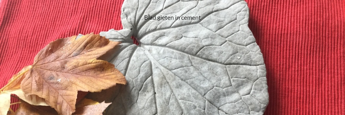 Blad gieten in cement